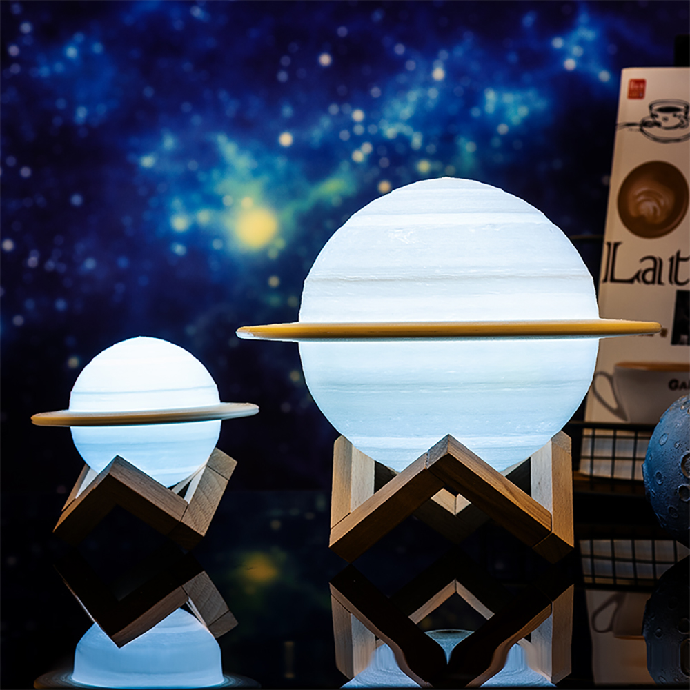 Saturn Lamp Moon Light 3D Print Planet Touch Lamp Remote Control LED Night Light USB Rechargeable Moonlight For Children Kids