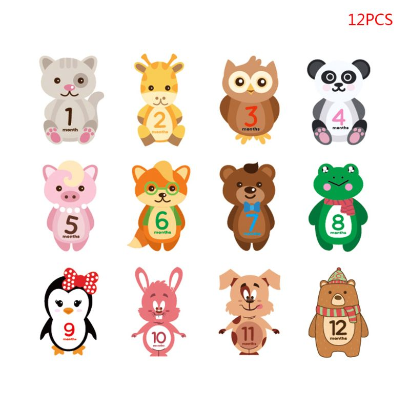 12 Pcs/set Baby Monthly Sticker Milestone Record Label Cartoon Animal Month Stickers Newborn Shower Photography Prop D08C