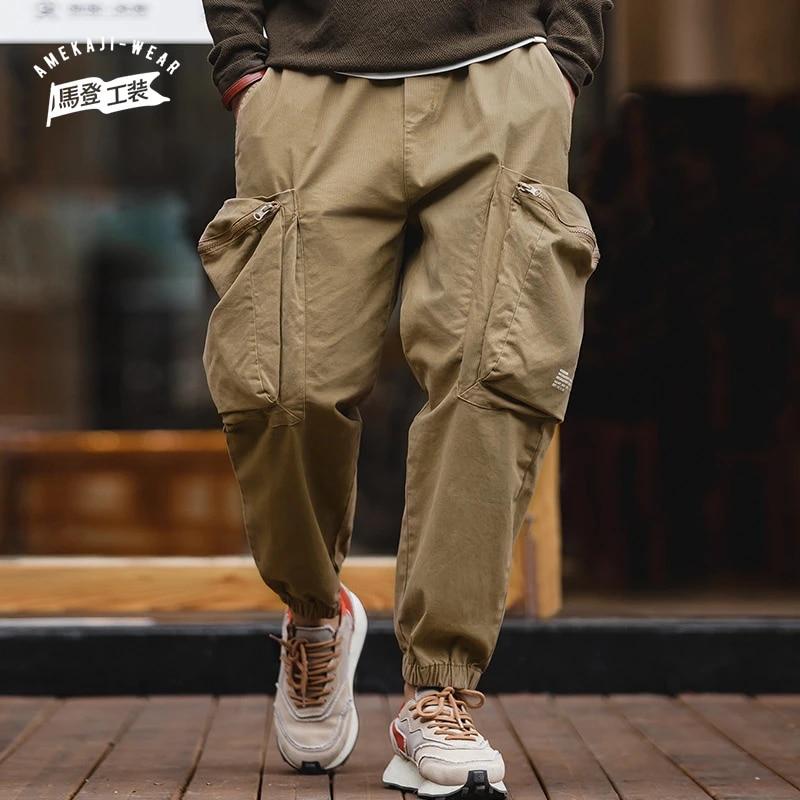 Mens Elastic Drawstring Cargo Pants Work Trousers Pocket Casual Pants Workwear