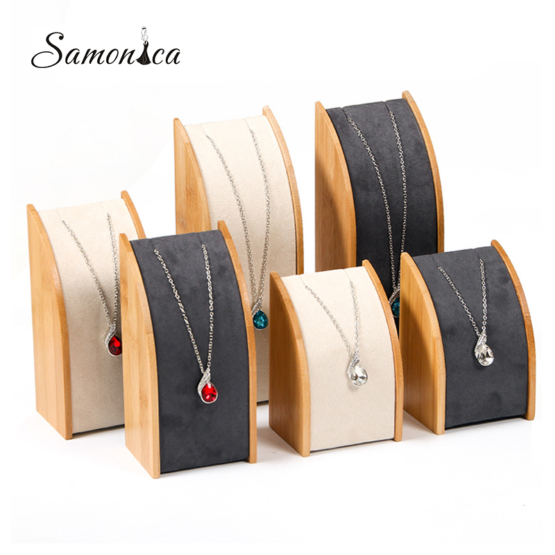 Bamboo Necklace Display Rack Storage Rack Pendant Display Organizer Jewelry Display Jewelry Storage Counter Display Stand