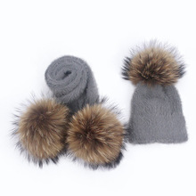 New Winter Hat Scarf Set Women Girls Real Raccoon Knitted With Fur Pompom Ball Caps Baby Children Hats Kids Warm Beanie Suits