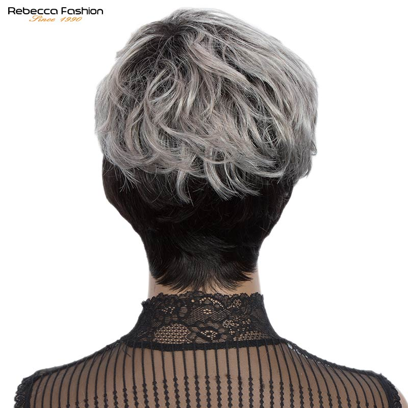 Rebecca Short Cute Pixie Wavy Wig Peruvian Remy Human Hair Full Wigs For Women Gray Short Straight Cut Natural Hair With Bangs