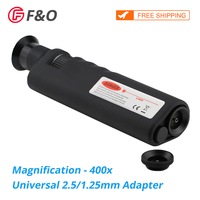 400X Magnification Optical Fiber Inspection Microscope with SC FC LC ST MU E2000 Universal Adapter for Fiber Cleaning