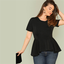 NEW Big Size Ruffle Hem Womens Tops And Blouses 2019 Black Burgundy Stretch Solid Top Women Short Sleeve Summer Blouse tassel trim ruffle hem blouse