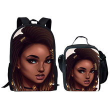 HYCOOL Black Afro Lady Girl Printing School Bags Set Fantasy Art Kids Book Bags Teenager Children Backpack Student Lunch Bags(China)