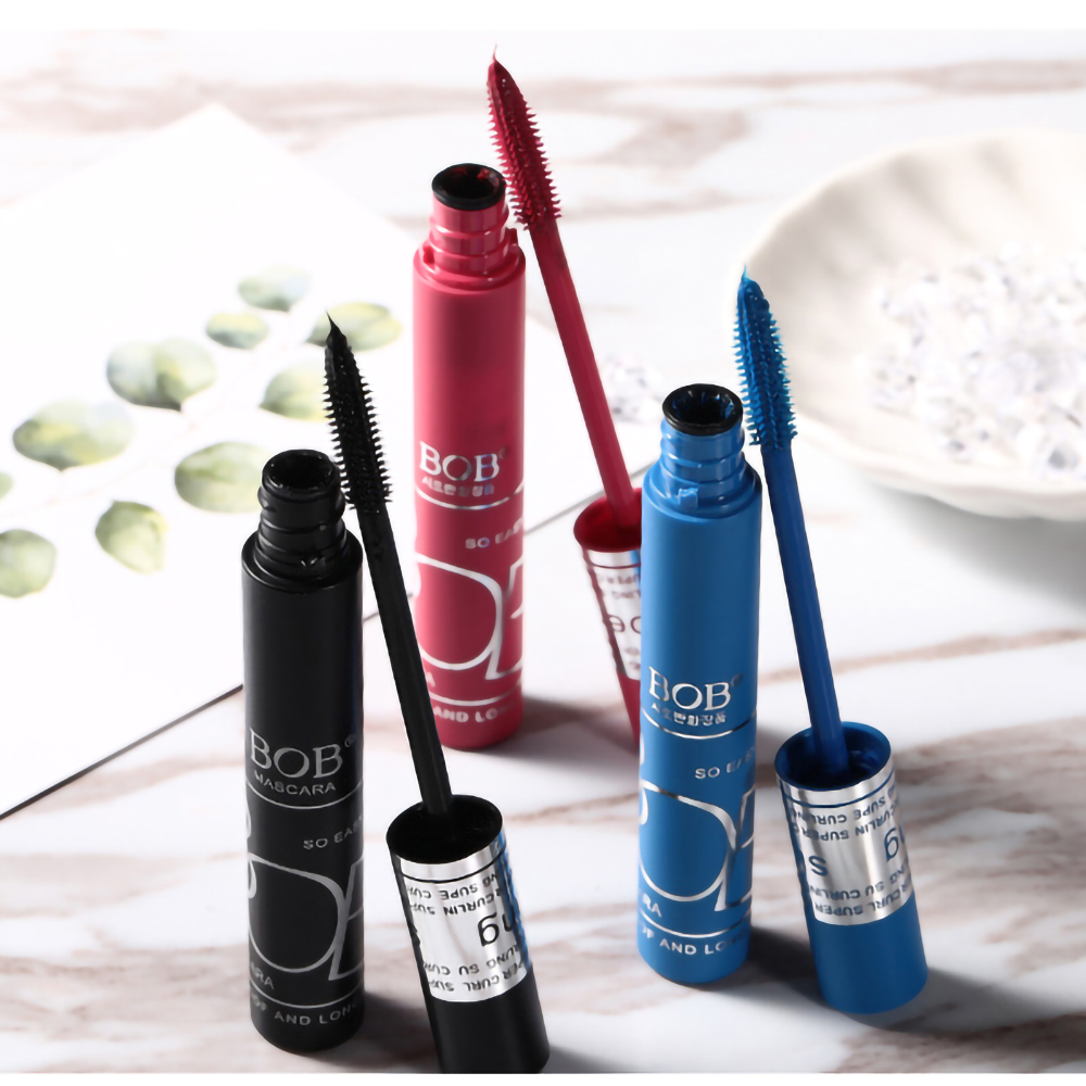 BOB Long Colorful Mascara 8 G Red, Blue And Black Three - Color Durable Waterproof Sweat - Resistant Fiber Long Thick Curly.