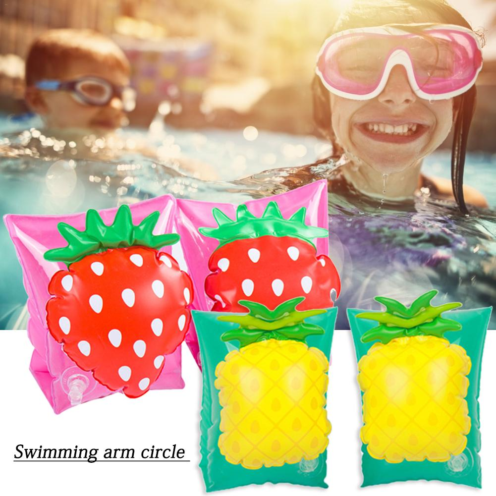 2pcs Swimming Arm Circle Strawberry Pineapple Style Swim Ring Children Fruit Life Jacket Buoyancy Tool Swimming Pool Safety Toy