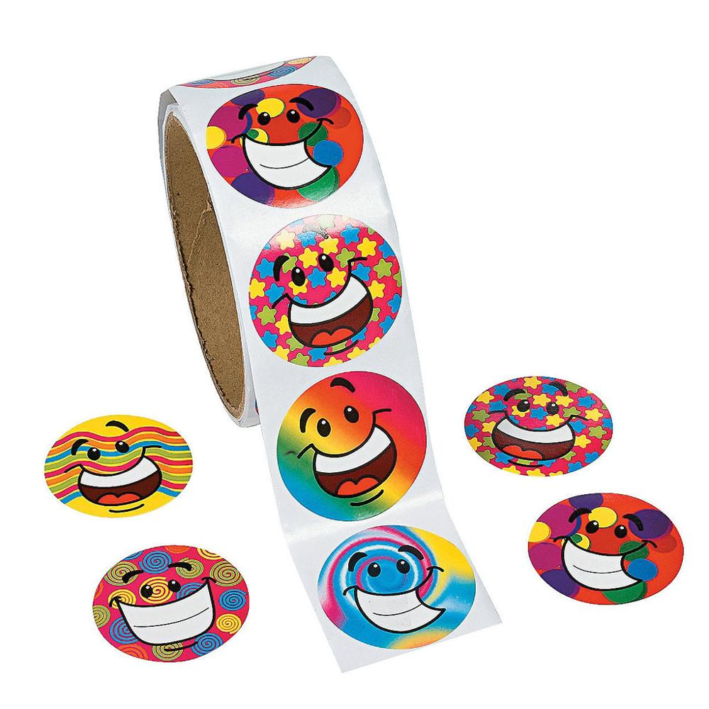 100pcs/1 Smile Face Roll Reward Stickers Roll Kids Sticker Scrapbooking Star 3D Cartoon Characters Funny Toys For Children