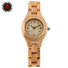 REDFIRE Roman Numerals Display Small Dial Women's Wood Watches Full Wooden Lady Clock Quartz Movement Folding Clasp Female Watch(China)