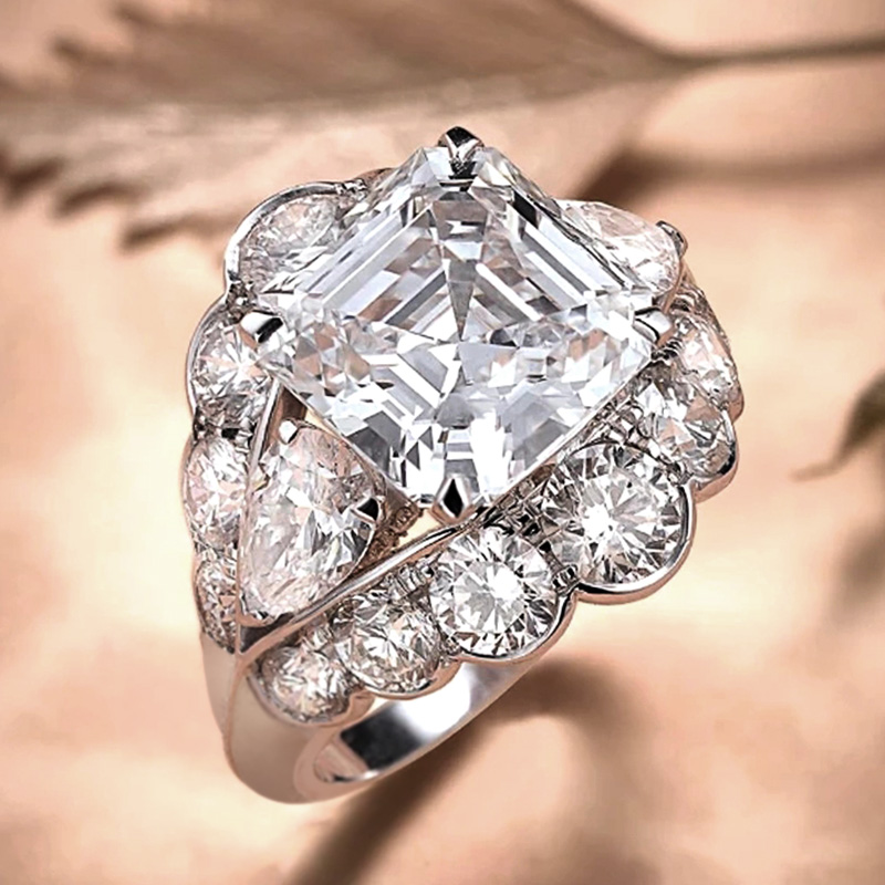 Huitan New Trend Princess Cut Square CZ Women Rings Aesthetic Proposal Engagement Ring for Lover Female Luxury Jewelry Wholesale