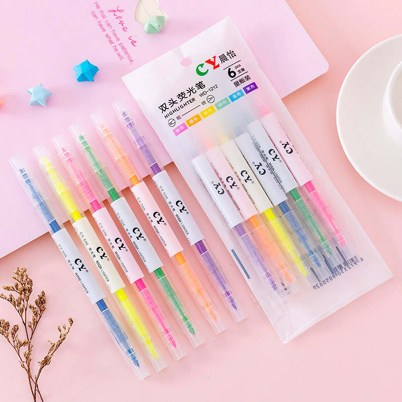 6Pcs Pastel Liquid Chalk Marker Pen Double-end Erasable Highlighter Double Head Highlighters For Kids School Office Supplies