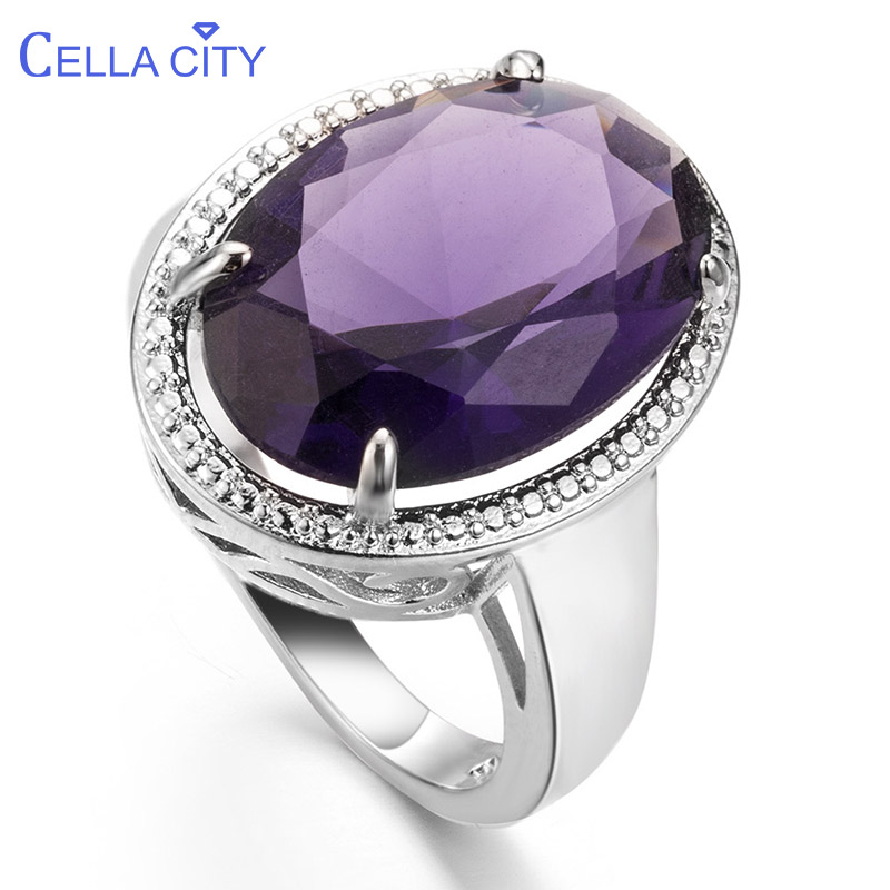 Cellacity Classic Silver 925 Jewelry Amethyst Silver Rings For Women With Oval Shaped Gemstones Engagement Female Gift Wholesale