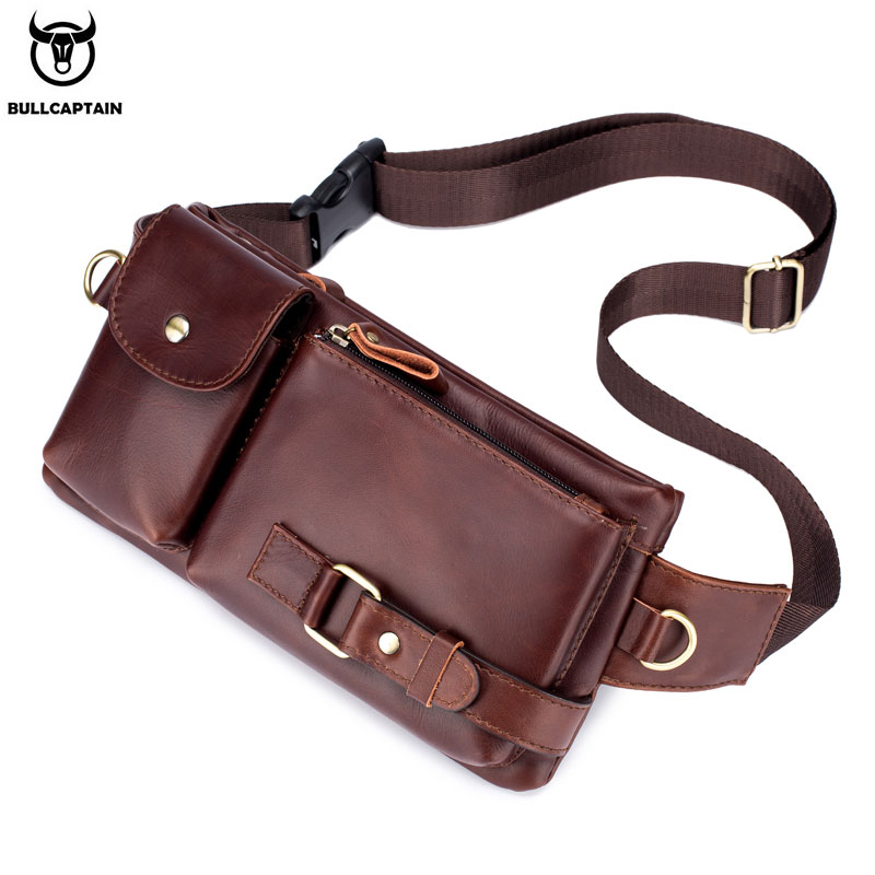 BULLCAPTAIN 100% Leather Waist Packs Fanny Pack Belt Bag Phone leather Pouch Bags Travel Waist Pack Male Functional Waist Bag-in Waist Packs from Luggage & Bags on AliExpress - 11.11_Double 11_Singles' Day 1