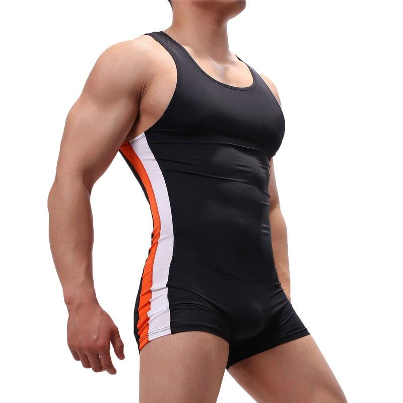 Mens Undershirts Seamless Slip Penis Pouch Bodysuits Shorts Pajamas Sports Fitness Sexy Underwear Gay Singlet Jumpsuits Bielizna