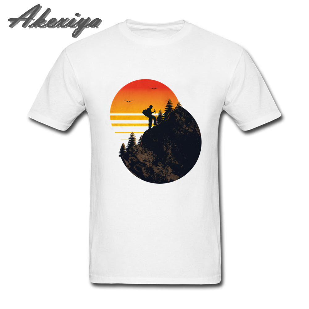 Men T Shirt Outdoors Mountain Hiking T-Shirt Sunrise National Parks Casual Cotton Slim Short Sleeve Tees Plus Size Men Clothes image