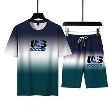 2021 Summer Men s  Sets Gradient 3D Digital Printing Football Pattern Youth Casual T Shirt  Suit  Sportswear Men s Size  M 6XL
