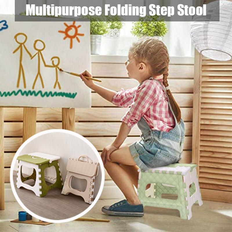 Plastic Multipurpose Folding Step Stool Home Train Outdoor Foldable Storage Convenient XH8Z