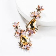 2019 summer fashion jewelry exaggerated drop-shaped multi-layer acrylic flower earrings retro temperament women