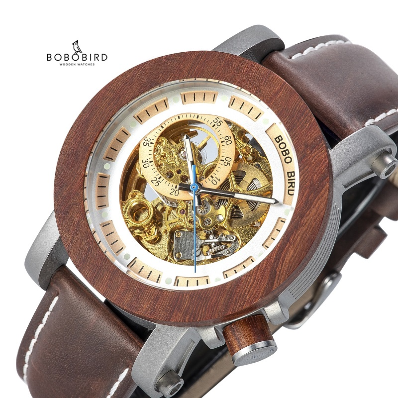 Image 5 - BOBO BIRD Brand Men Watches Red Wooden Gear Mechanical Watch Genuine Leather Strap Wristwatch relogio masculino Christmas Gift-in Mechanical Watches from Watches