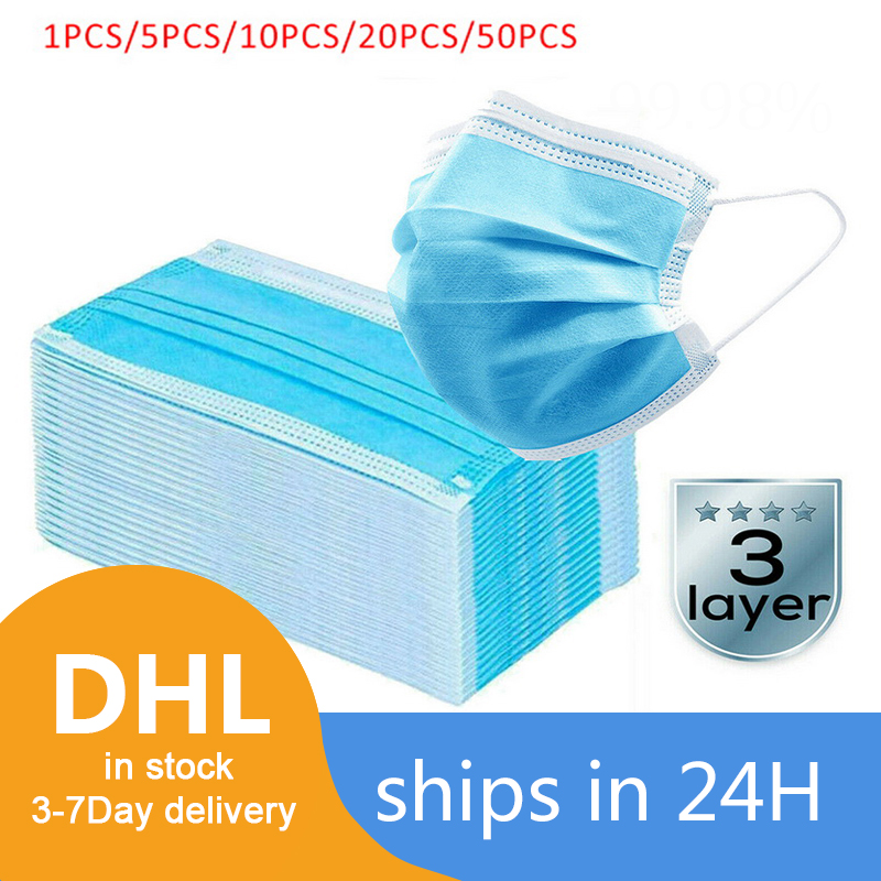 1/10/100PCS Disposable Face Mask 3 Layer Non-woven Mouth Masks Anti Dust Disposable Protective Mask Mouth Face Mask Dropshipping