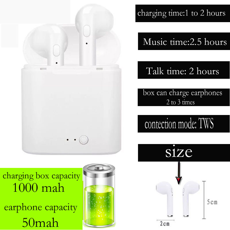 i7s TWS Wireless Earpiece  Bluetooth 5.0 Earphones sport Earbuds Headset With Mic For smart Phone  Xiaomi Samsung Huawei LG