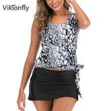 Swimwear Tankini Swimsuits Shorts Bathing-Suit Vikionfly Plus-Size 2piece Foral Ladies