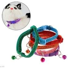 Ошейник для питомца светящийся блестящий ошейник для собаки, щенка, кошки, котенка, ожерелье с защитой от потери, Регулируемая пряжка для ремня, аксессуары для украшения