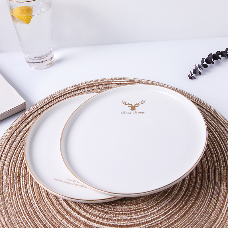 >Gold Inlay Dinner Plate <font><b>Nordic</b></font> <font><b>Style</b></font> Food Dishes Milu Deer Plates Ins Round <font><b>Ceramic</b></font> Food Tray Home Tableware 8 Inch Dish