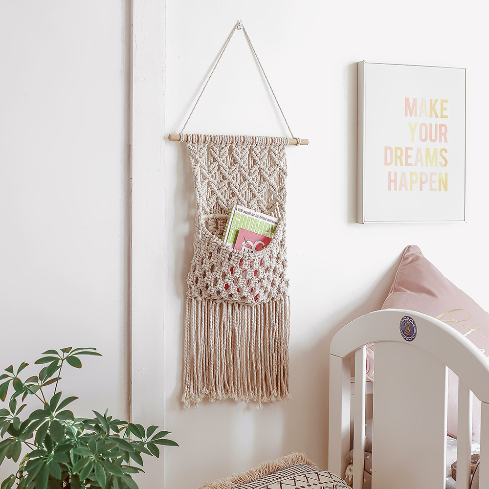 Macrame Wall Hanging Tapestry Bohemian Geometric Hand Woven Tassel Tapestries Home Living Room Sofa Headboard Decoration