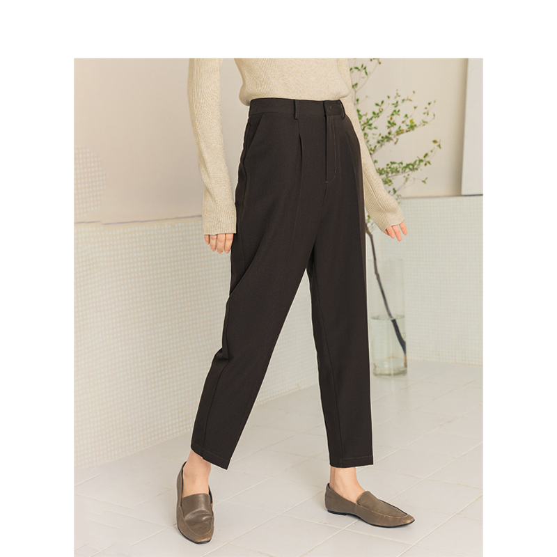 INMAN 2020 Spring New Arrival Solid Color  High Waist Minimalist Office Lady Women Baggy Pant