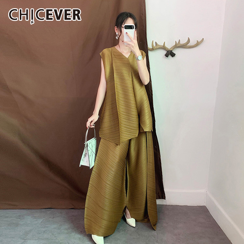 CHICEVER Summer Women Suit V Neck Sleeveless Off Shoulder Irregular Tops Loose Wide Leg Pant Female Two Piece Set Fashion Casual