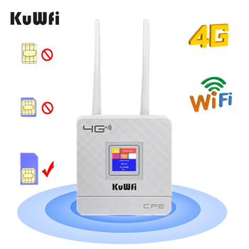 цена на KuWfi 4G Sim Card Wifi Router CAT4 150Mbps Wireless CPE Router 4G LTE FDD/TDD Unlock Router With External Antennas WAN/LAN RJ45