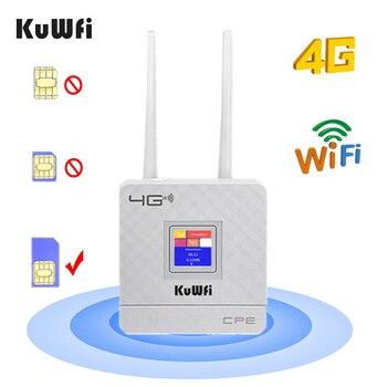 KuWfi 4G Tarjeta SIM Router Wifi CAT4 150Mbps Router inalámbrico CPE Router de desbloqueo 4G LTE FDD / TDD con antenas externas WAN / LAN RJ45