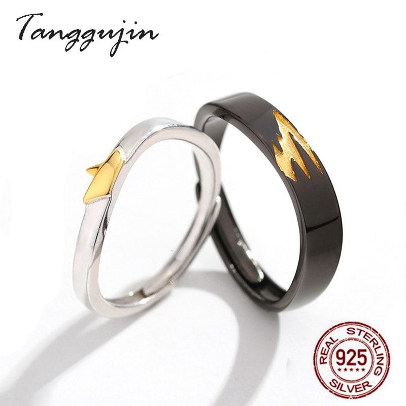 Tanggujin Ring 925 Sterling Silver Lovers Finger Wedding Band Rings For Women Men Adjustable Jewelry