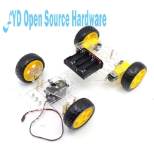 1Set Steering Motor 4 Wiel 2 Motor Smart Robot Car Chassis Kits Diy Met 3003