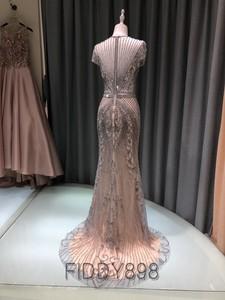 Image 2 - Lüks Mermaid akşam elbise uzun Cap kollu el yapımı boncuklu balo elbise 2020 Vestidos de Fiesta de Noche OEV L4208