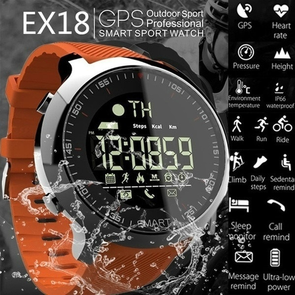 Smart Watch EX18 Sport 5ATM Waterproof Pedometers Tracker Message Reminder Bluetooth Outdoor Swimming Men GPS Smartwatch Wristba