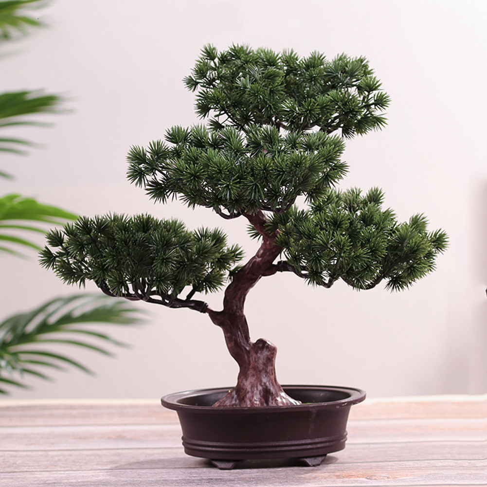 Simulation Lifelike DIY Simple Potted Plant Ornament Gift Artificial Accessories Pine Tree Decorative Bonsai Office Festival