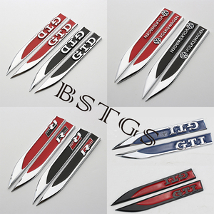 BSTGS 3D Chromed Emblem Badge Decal Sticker Logo Fenders Side Metal For Volkswagen Golf GTI 5 6 7 GTD Stickers Auto Accessories