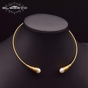 Image 4 - Glseevo natural água doce barroco pérola gargantilhas colar para mulheres colares de luxo colar de jóias finas hombre colar gn0048