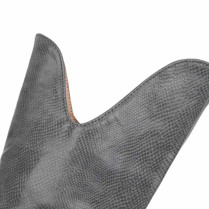 ESVEVA 2020 ชี้ Toe กลางลูกวัวรองเท้า PU หนังรอบ Toe ผู้หญิงรองเท้าฤดูใบไม้ร่วงฤดูหนาวสแควร์ส้นรองเท้าขนาด 34-43