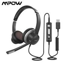 Mpow 328 com fio fones de ouvido usb 3.5mm computador fone de com microfone com cancelamento de ruído placa de som para skype call center computador