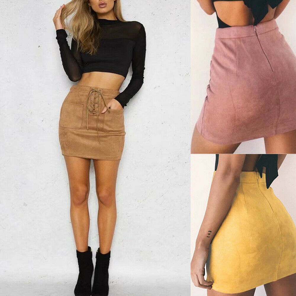Women Leather Suede Pencil Skirts Short High Waist Bandage Solid Bandcon Sexy Party Wear Mini Skirts Slim Outwear For Women 2019