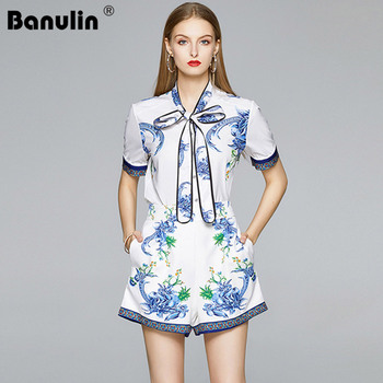 2020 Summer Runway 2 Piece Set Women Floral Print Shirt Blouse + Shorts Set Ladies Workwear Two Piece Set Top and Pants knot detail floral blouse with shorts