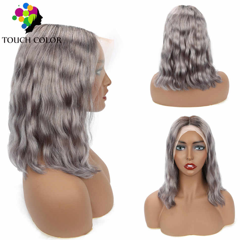 Ombre Colored Gray 13x4 Lace Frontal Wig Mongolian Body Wave Short Bob Wigs For Women Remy Human Hair Lace Frontal Wig Pre Pluck