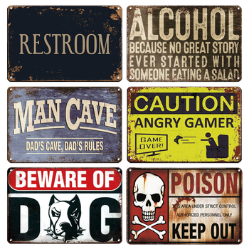цена на Vintage Alcohol Metal Poster Tin Sign CAUTION ANGRY GAMER Signs BEWARE OF DOG Metal Plaque Sign Gamer Room Decor Plates