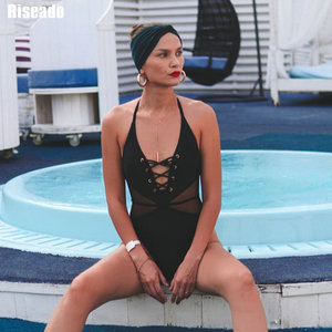 Image 2 - Riseado Sexy Mesh Swimwear Women Lace up One Piece Swimsuit 2020 New High Cut Swimsuits Halter Bodysuits V neck Beach Wear