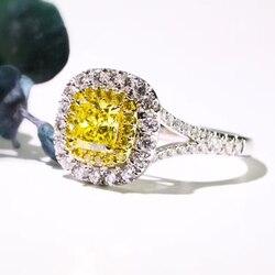 S925 Стерлинговое серебро кольцо с бриллиантом желтый топаз драгоценный камень серебро 925 ювелирные изделия Bijoux Femme кольца Anillos Mujer Anel Ювелирн...