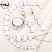 925 فضة المرأة مجموعات مجوهرات الأبيض الزركون أقراط بالحجارة قلادة قلادة أقراط خواتم أساور مجموعة هدية صندوق