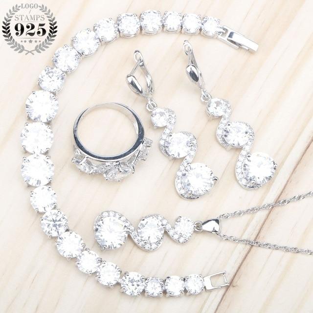 Женские Ювелирные наборы из серебра 925 пробы с белым цирконием, серьги с камнями, ожерелье, серьги, кольца, браслеты, подарочная коробка